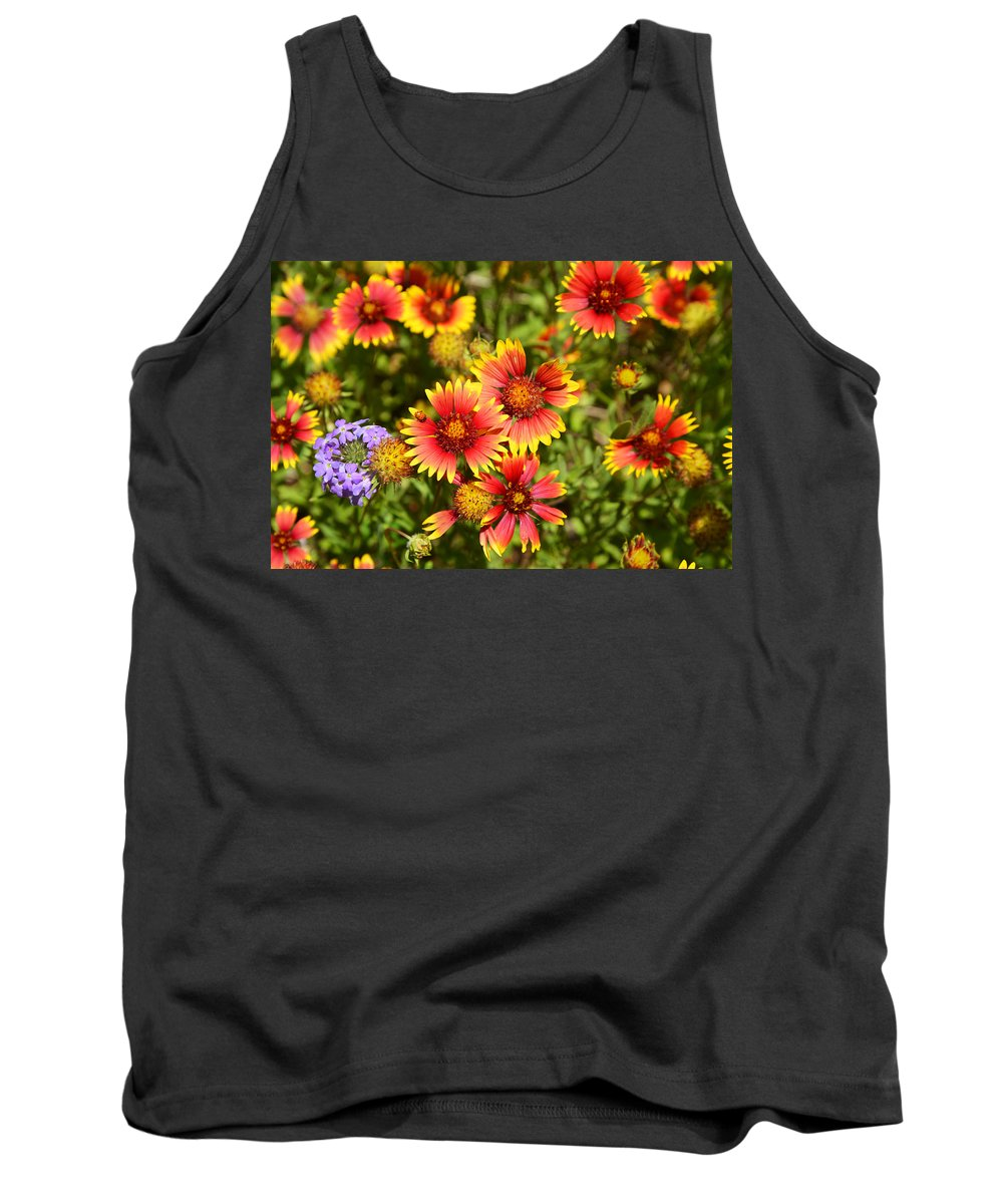 Lady Tank Top featuring the photograph Lady Bird And Her Flowers by Lynn Bauer