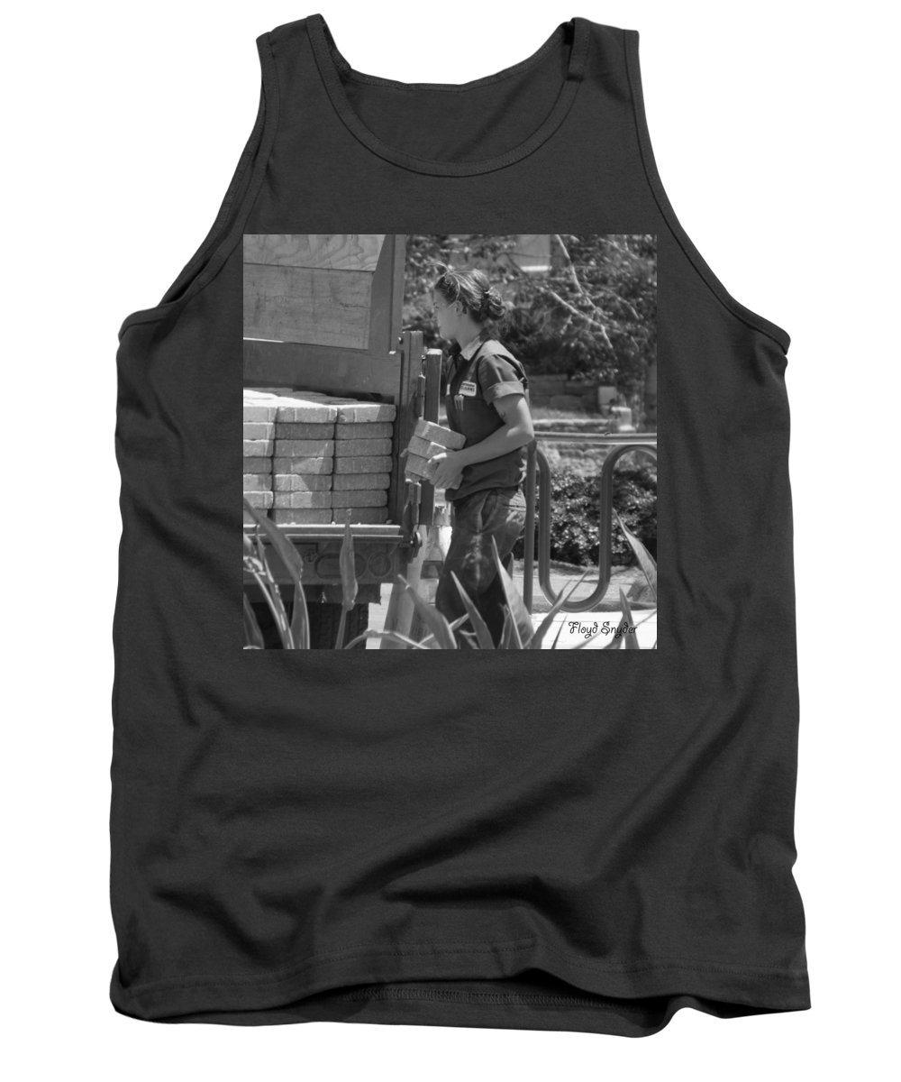Floyd Snyder Tank Top featuring the photograph Lady Bricklayer by Floyd Snyder