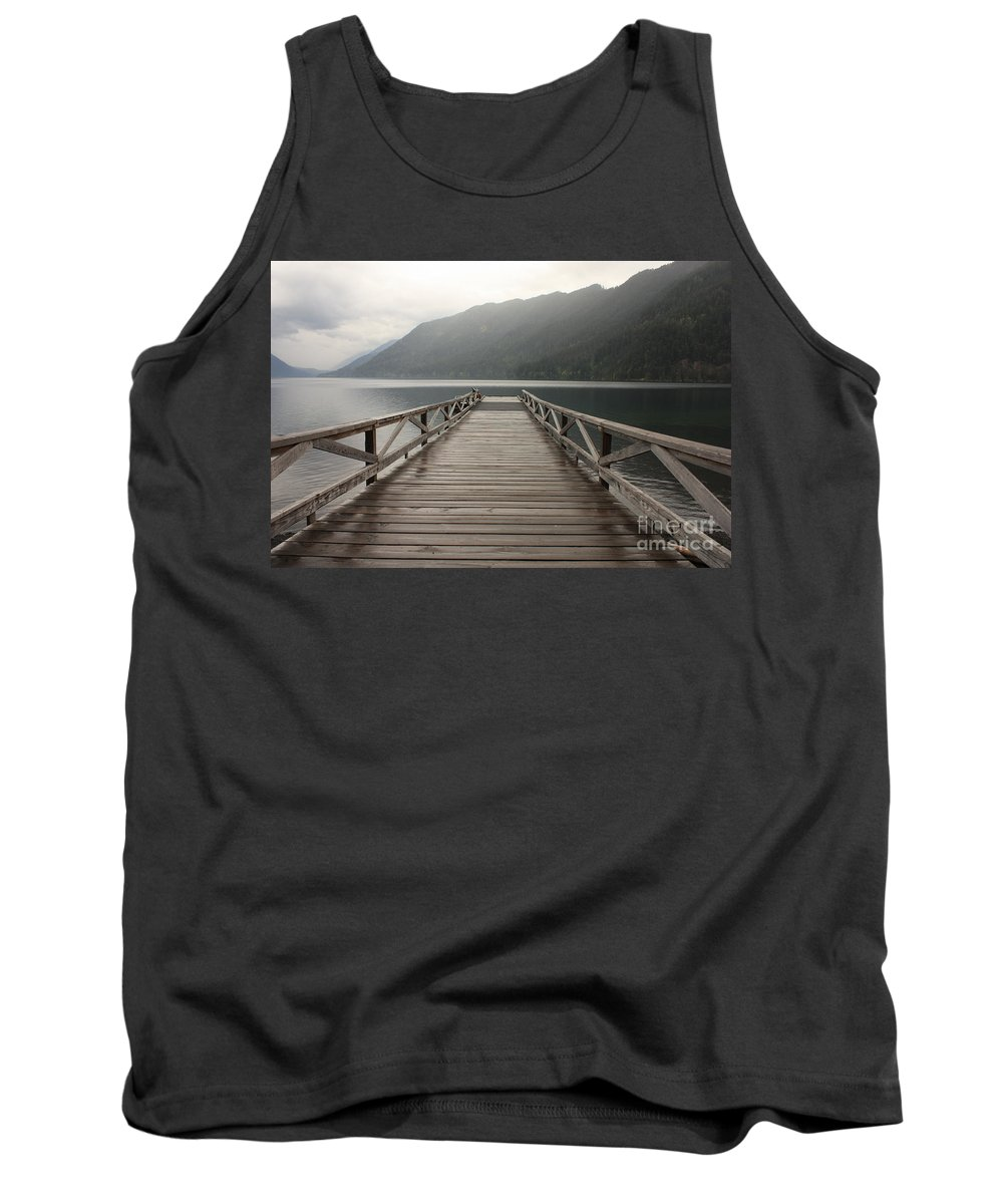 Lake Crescent Tank Top featuring the photograph Lake Crescent Dock by Carol Groenen