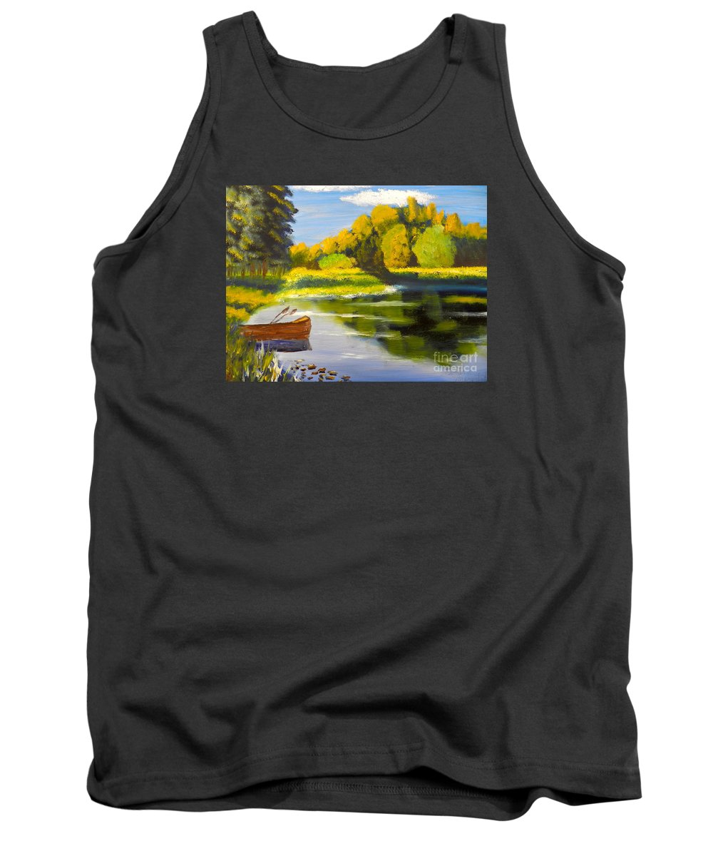 Impressionism Tank Top featuring the painting Lake Illawarra At Primbee by Pamela Meredith