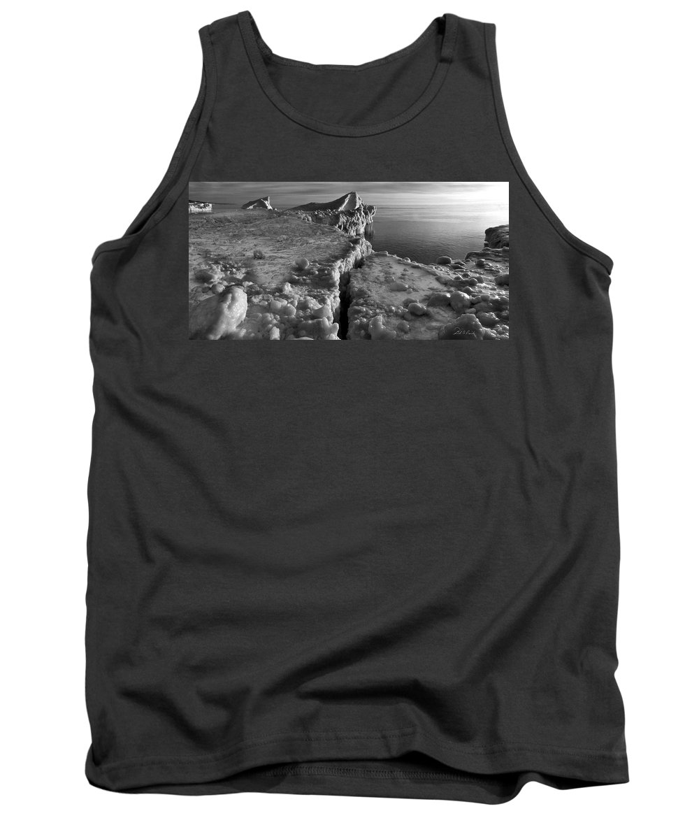 B&w Tank Top featuring the photograph Lake Michigan Ice V by Frederic A Reinecke