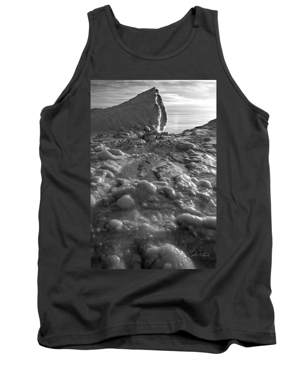 B&w Tank Top featuring the photograph Lake Michigan Ice Xii by Frederic A Reinecke