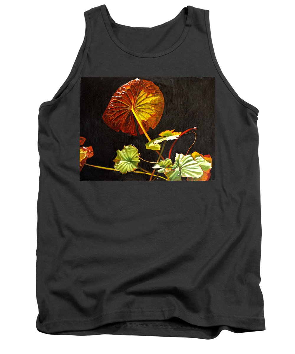 Lily Pad Tank Top featuring the painting Lake Washington Lily Pad 18 by Thu Nguyen