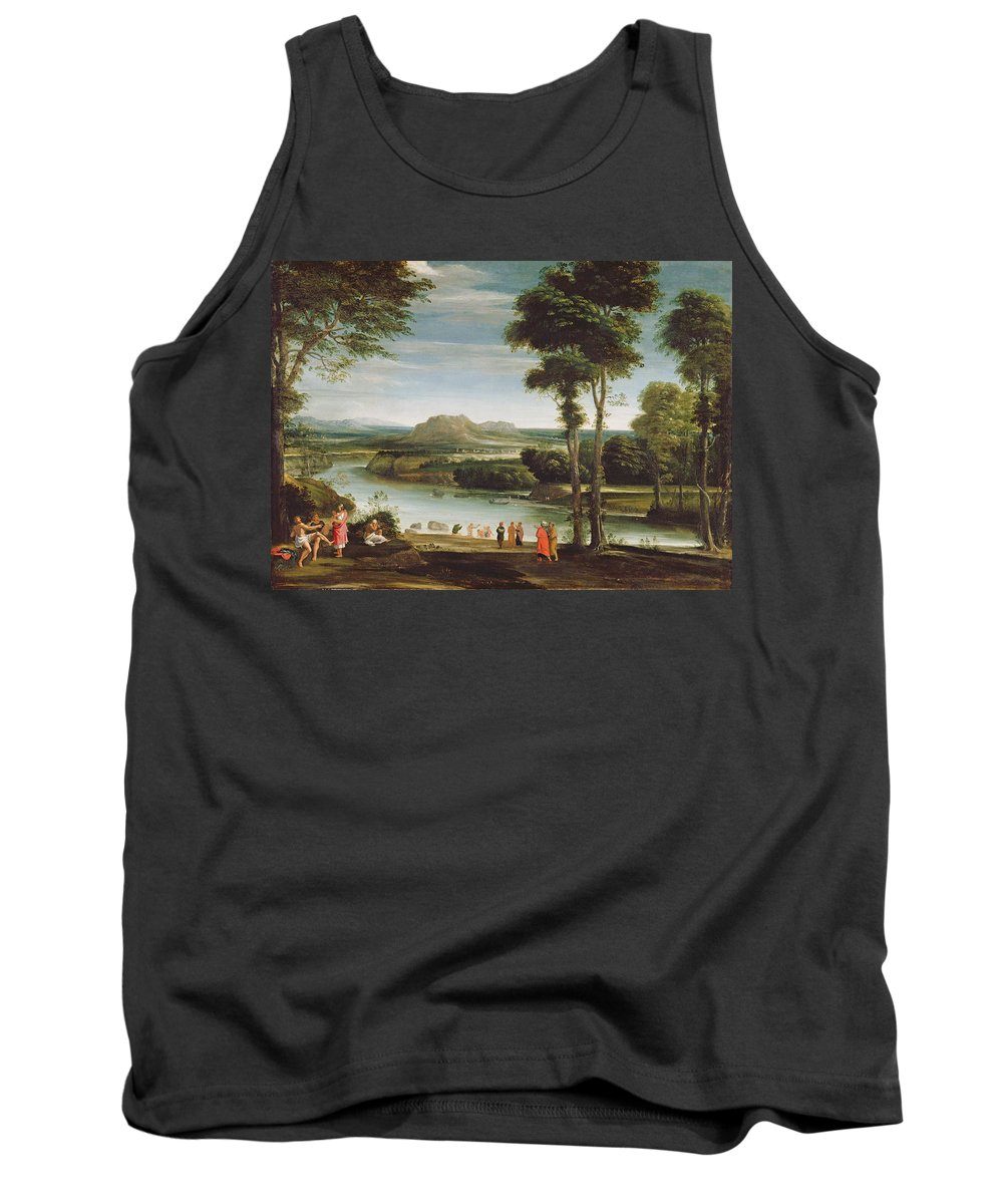 River Tank Top featuring the painting Landscape With St. John Baptising by Domenichino