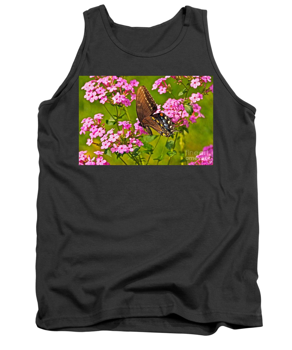 Black Eastern Tiger Swallowtail Butterfly And Pink Phlox Tank Top featuring the photograph Late Summer Color by Byron Varvarigos
