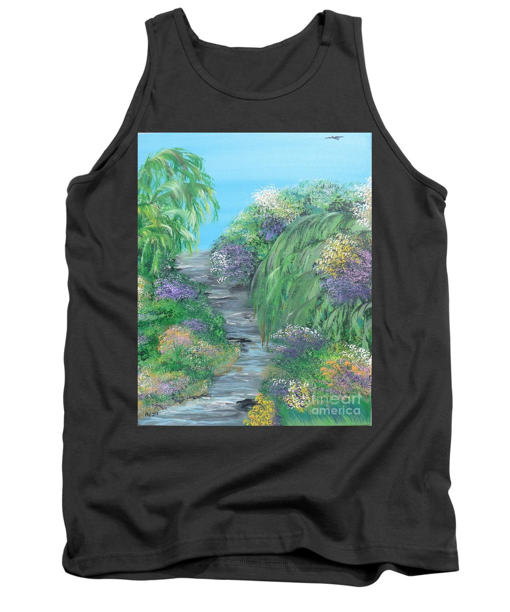Summer Tank Top featuring the painting Late Summer On The White River by Alys Caviness-Gober