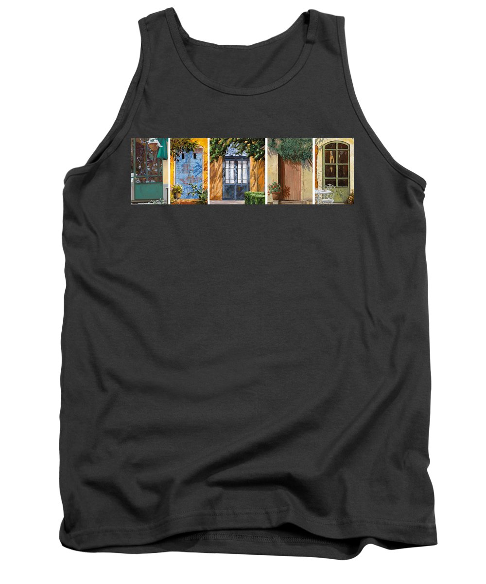 5 Doors Tank Top featuring the painting Le 5 Porte by Guido Borelli