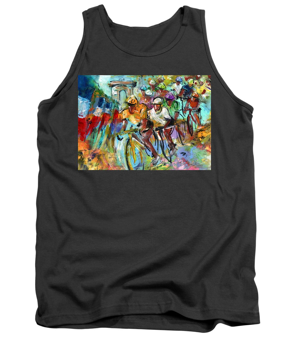 Sports Tank Top featuring the painting Le Tour De France Madness 02 by Miki De Goodaboom