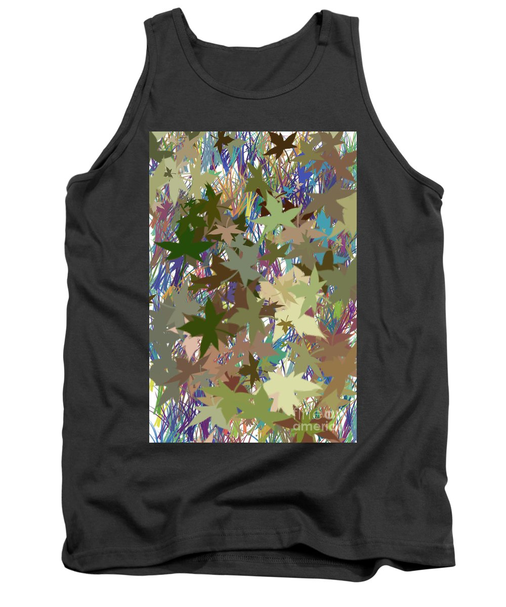Leaf Tank Top featuring the digital art Leaves And Grass Abstract by Minding My Visions by Adri and Ray