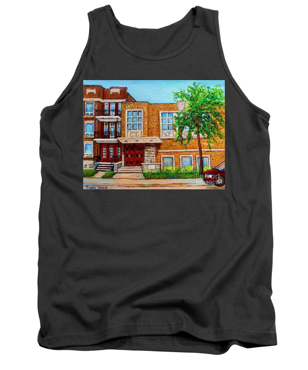 Montreal Tank Top featuring the painting Legare And Hutchison Synagogue Montreal by Carole Spandau