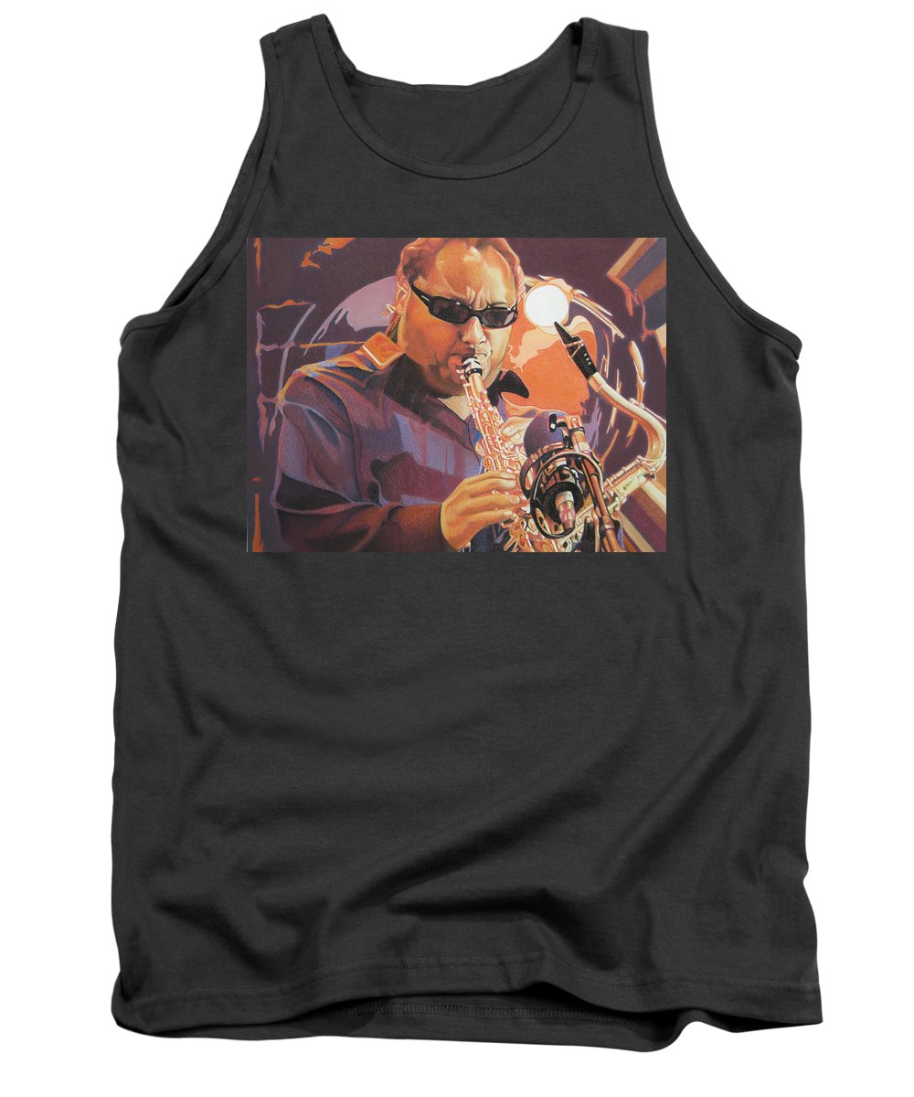 Leroi Moore Tank Top featuring the drawing Leroi Moore Purple And Orange by Joshua Morton
