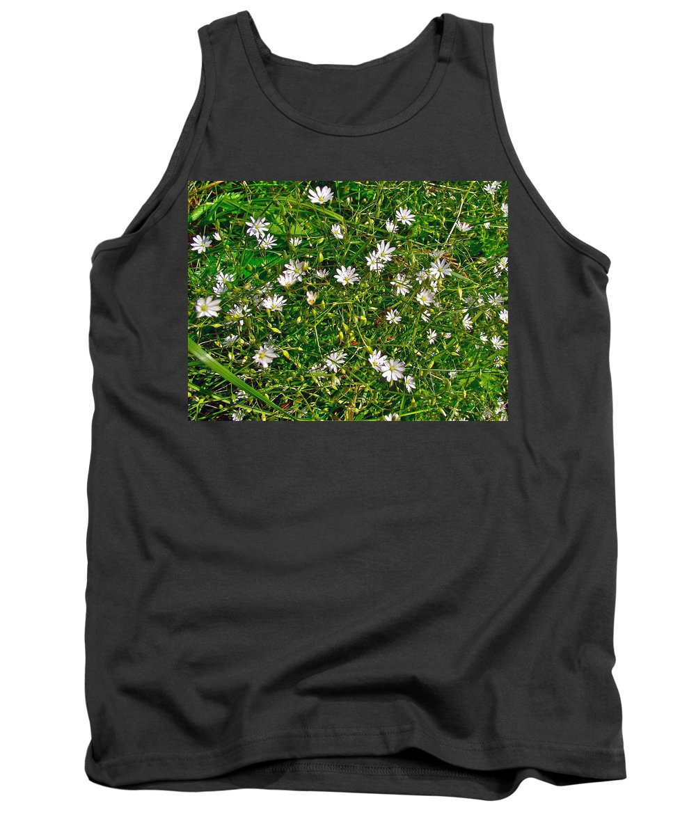 Lesser Stitchwort Near Lobster Cove In Gros Morne Np Tank Top featuring the photograph Lesser Stitchwort Near Lobster Cove In Gros Morne Np-nl by Ruth Hager
