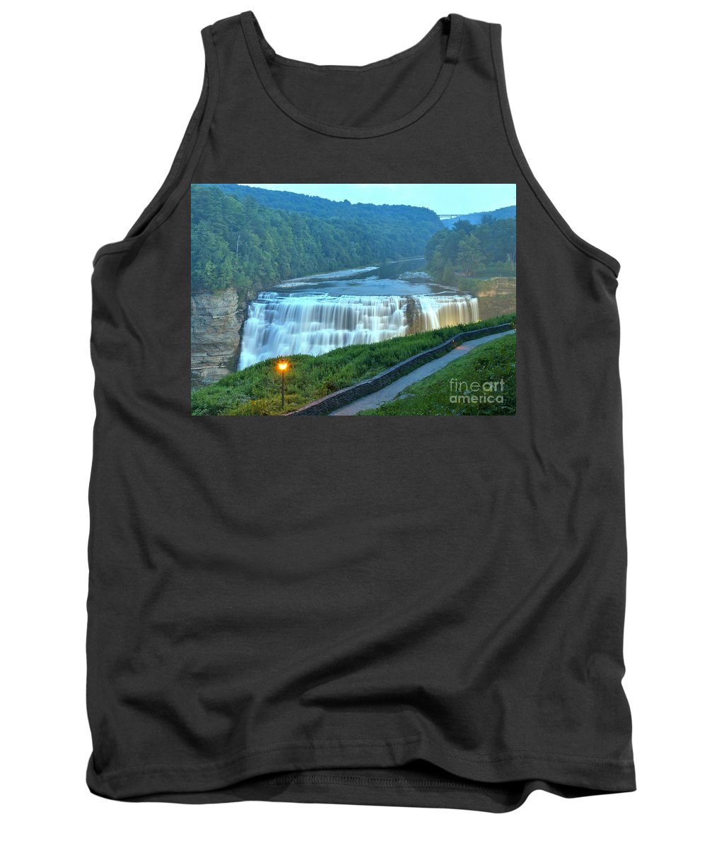 Letchworth Middle Falls Tank Top featuring the photograph Letchworth Middle Falls Lights by Adam Jewell