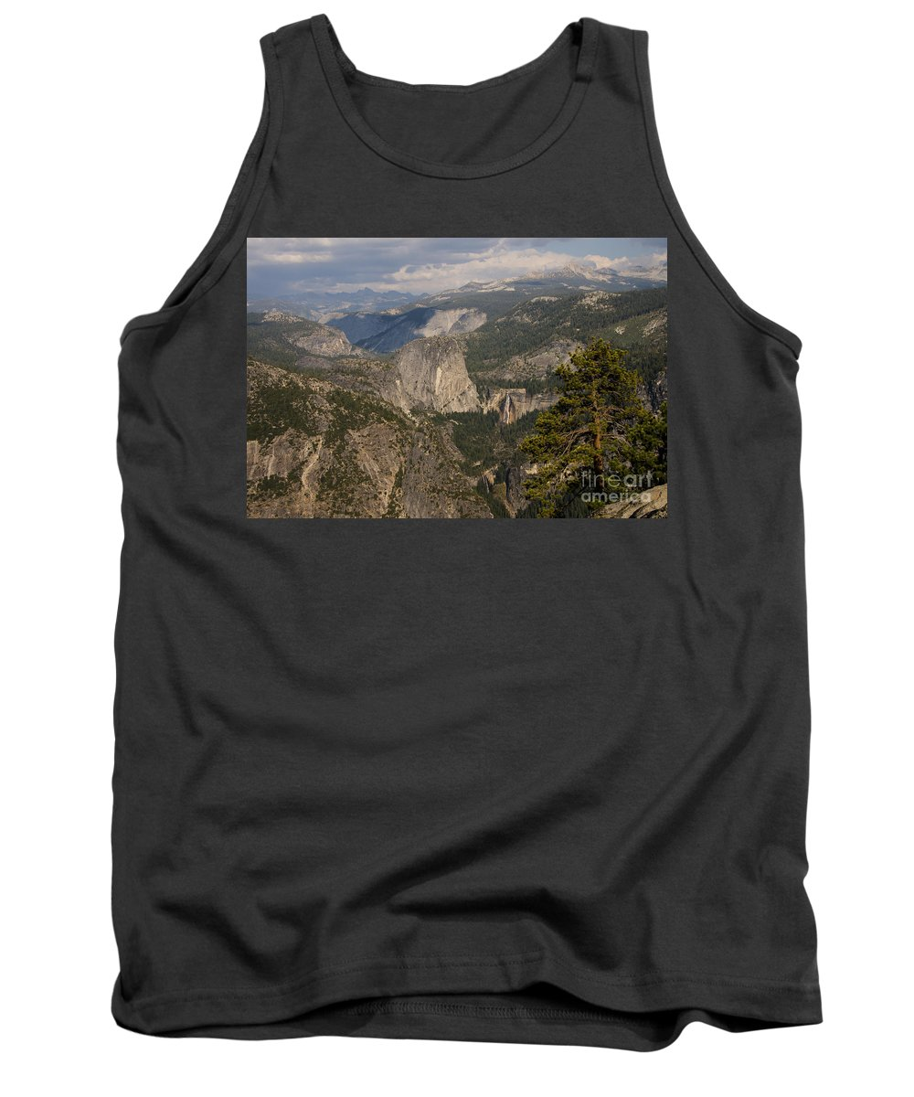Vernal Falls Waterfall Nevada Waterfalls Tree Trees Yosemite National Park California Parks Landscape Landscapes Rock Rocks Stone Stones Water Mountain Mountains Liberty Cap Tank Top featuring the photograph Liberty Cap And The Falls by Bob Phillips