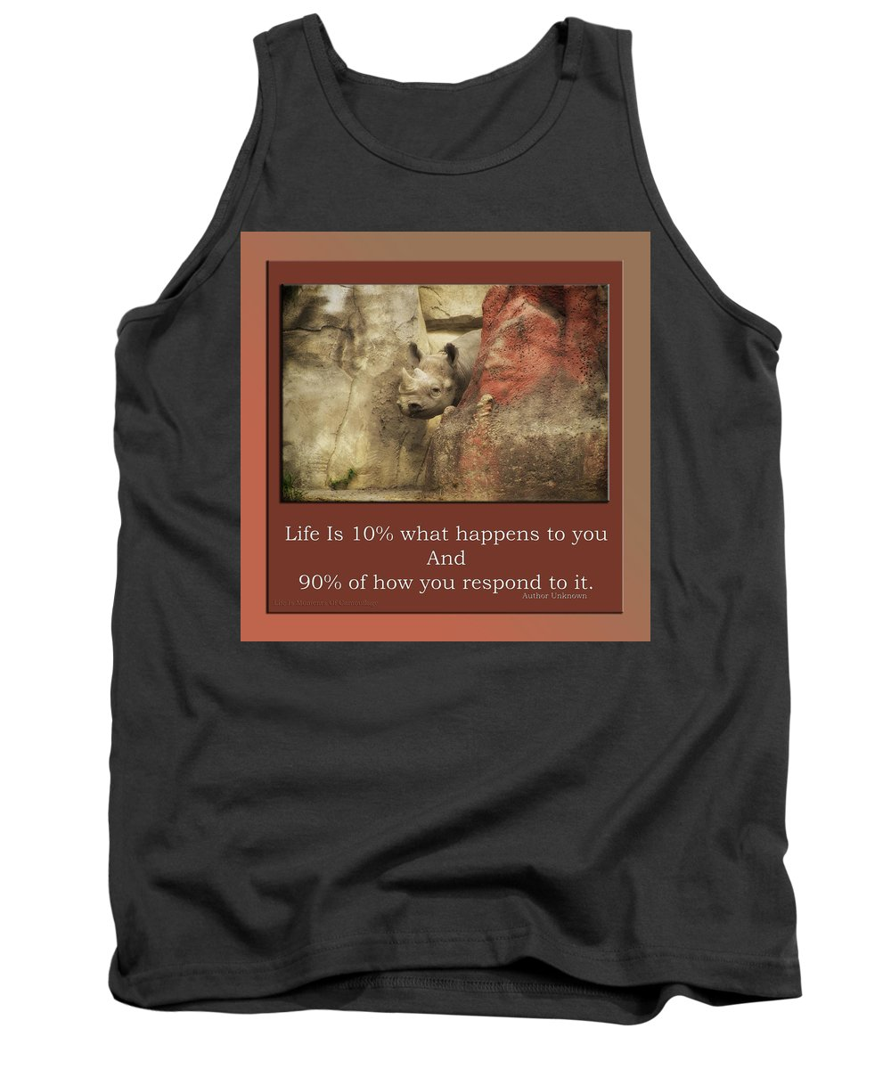 Rhino Tank Top featuring the mixed media Life Is Moments Of Camouflage by Thomas Woolworth