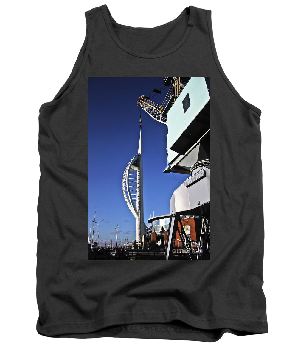 Spinnaker Tower Tank Top featuring the photograph Lifting Portsmouth's Spinnaker Tower by Terri Waters