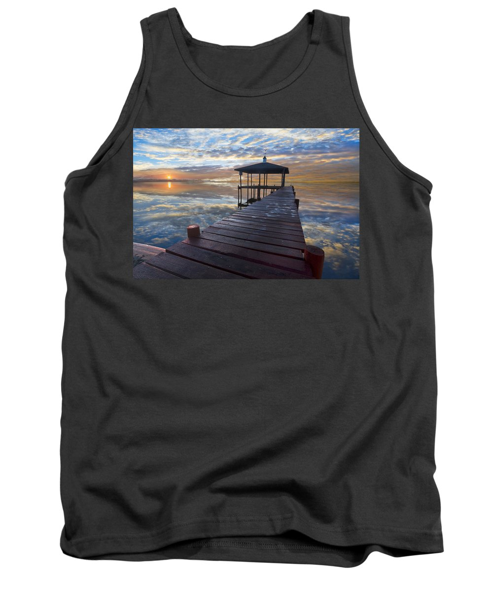 Clouds Tank Top featuring the photograph Light At The Lake by Debra and Dave Vanderlaan