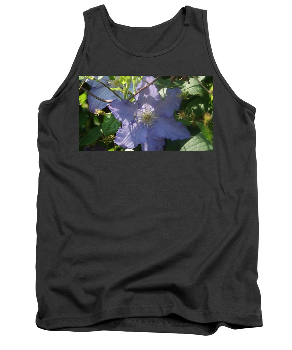 Light Blue Tank Top featuring the photograph Light Blue Clematis by Rob Luzier