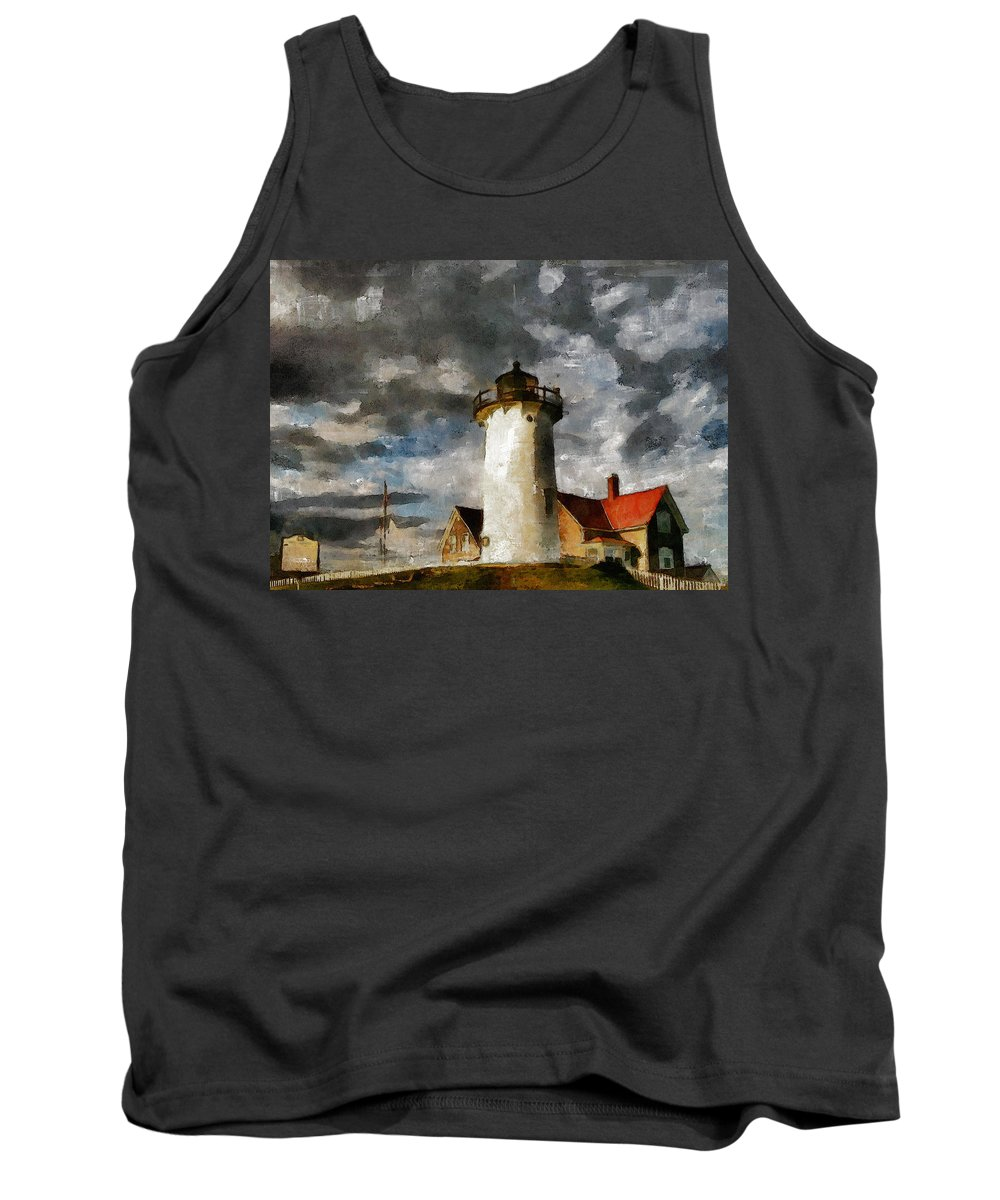 Impressionism Tank Top featuring the painting Light House In A Storm by Georgiana Romanovna