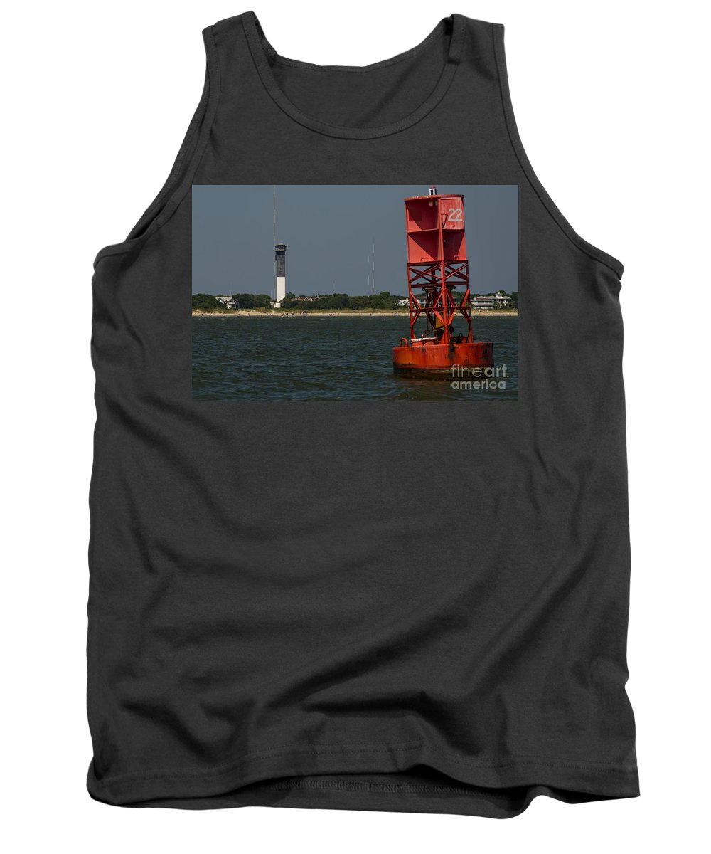 Sullivan's Island Lighthouse Tank Top featuring the photograph Lighthouse To Buoy by Dale Powell