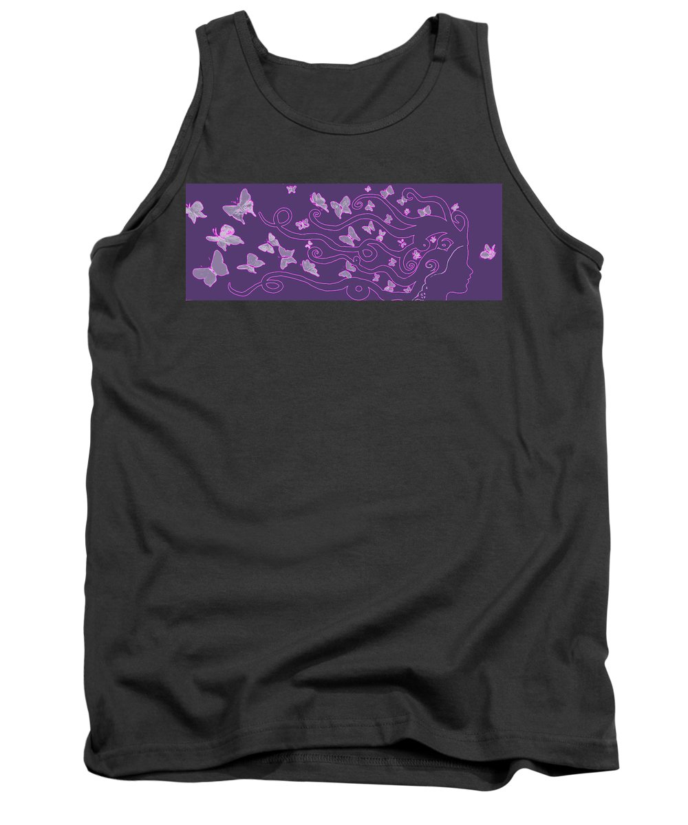 Silhouette Tank Top featuring the painting Lilac Silhouette Of Woman With Butterflies by M Bleichner