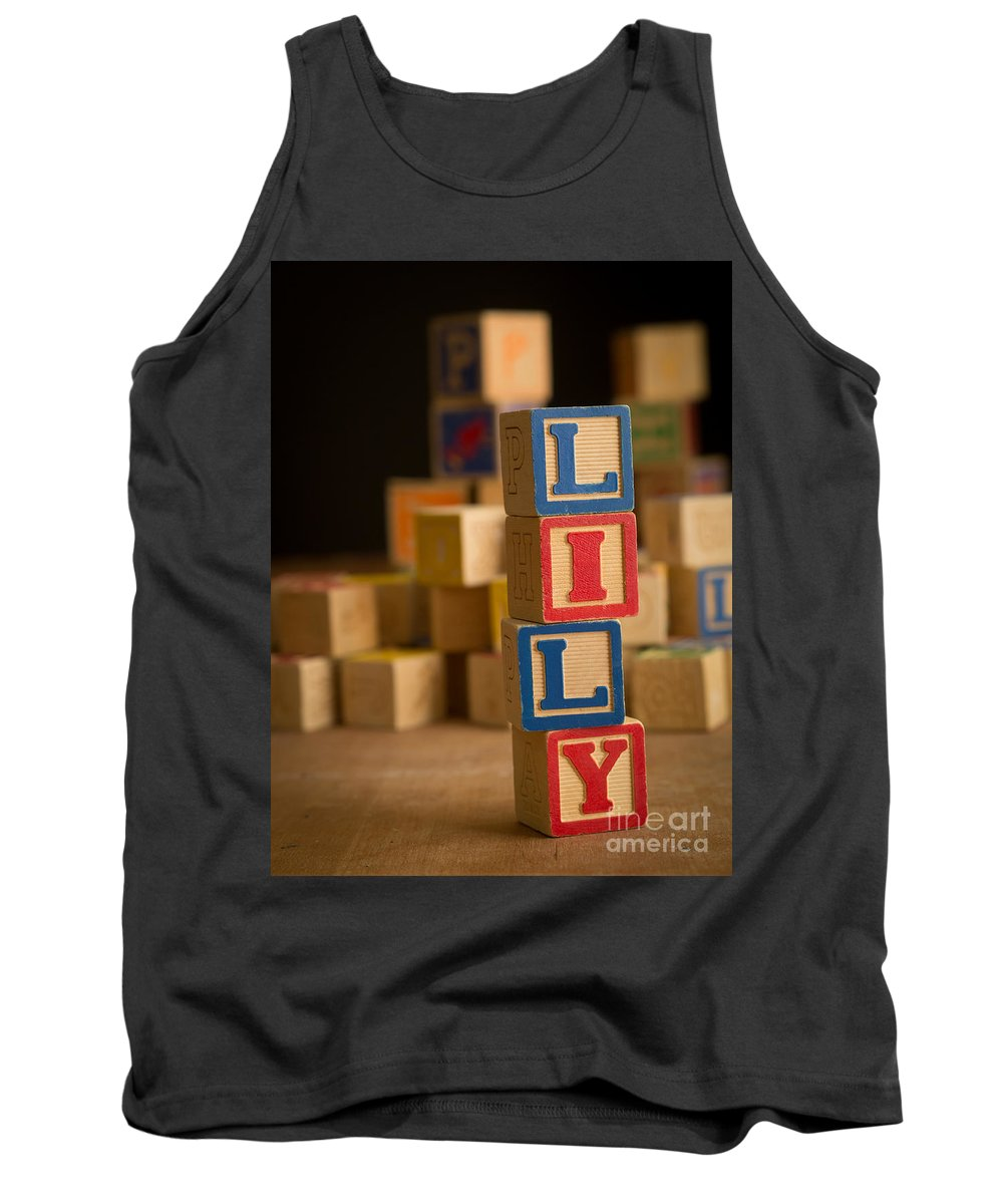 Alphabet Tank Top featuring the photograph Lily - Alphabet Blocks by Edward Fielding