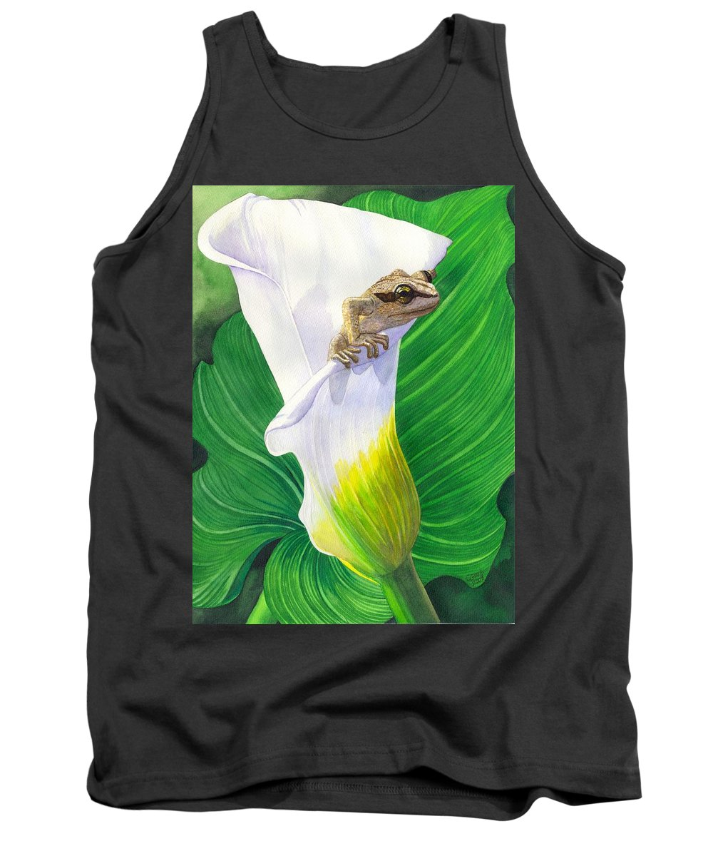 Frog Tank Top featuring the painting Lily Dipping by Catherine G McElroy