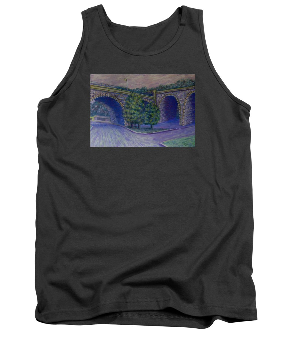 Pastel Tank Top featuring the pastel Lincoln Ave Bridge Pittsburgh by Joann Renner