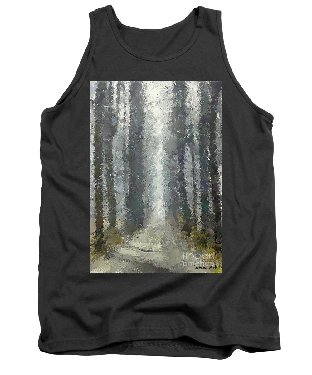 Landscape Tank Top featuring the painting Linden Alley by Dragica Micki Fortuna