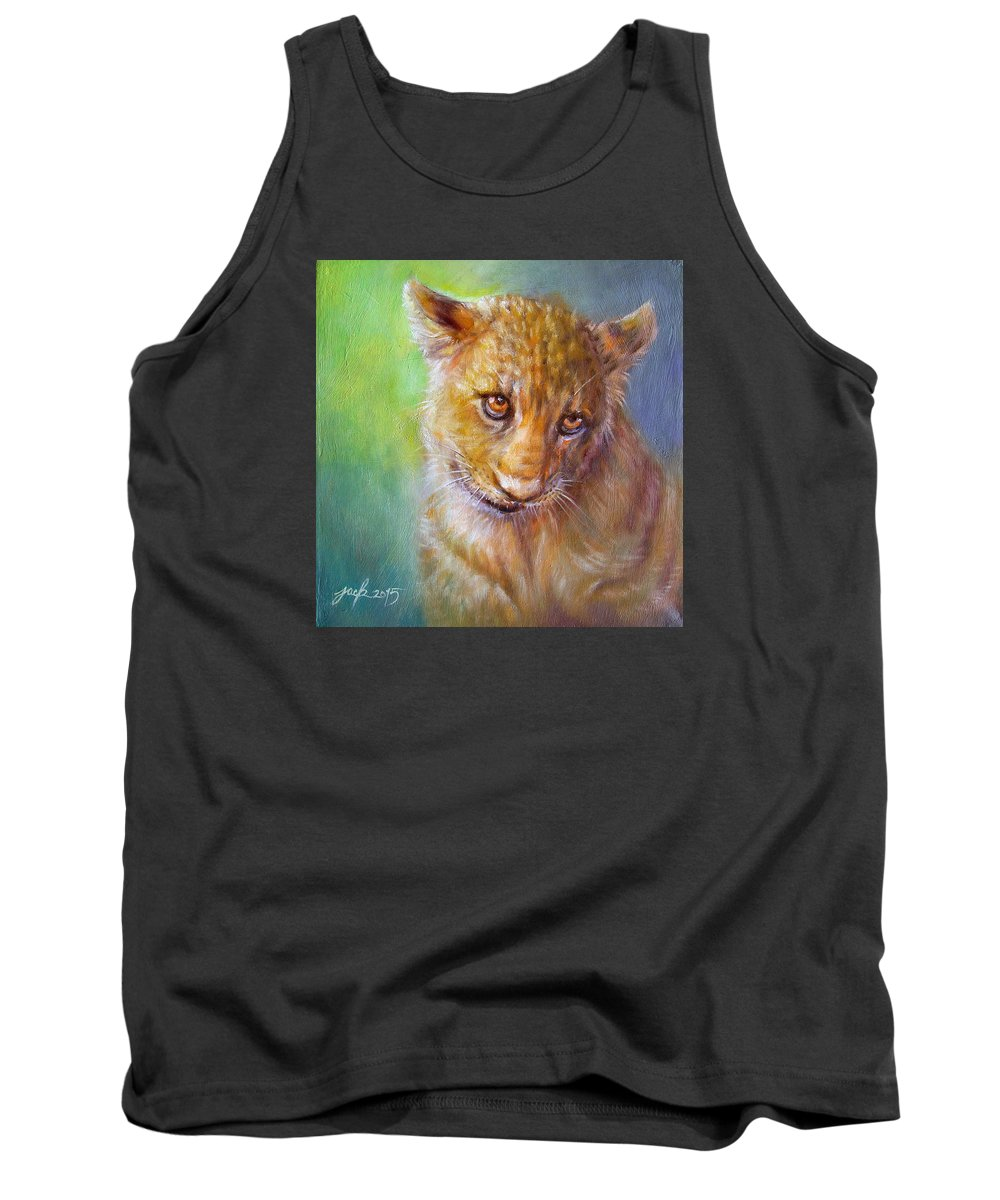 Original Painting Tank Top featuring the painting Lion Cub by Jack No War