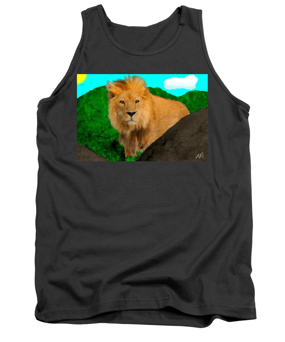 Lion Tank Top featuring the painting Lion Prowling by Bruce Nutting