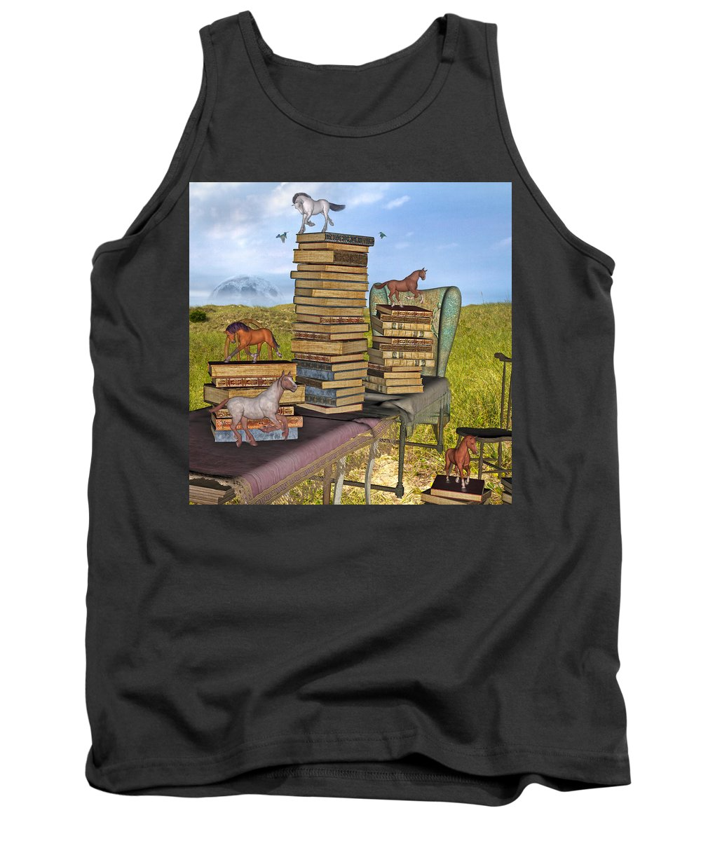 Library Tank Top featuring the mixed media Literary Levels by Betsy Knapp