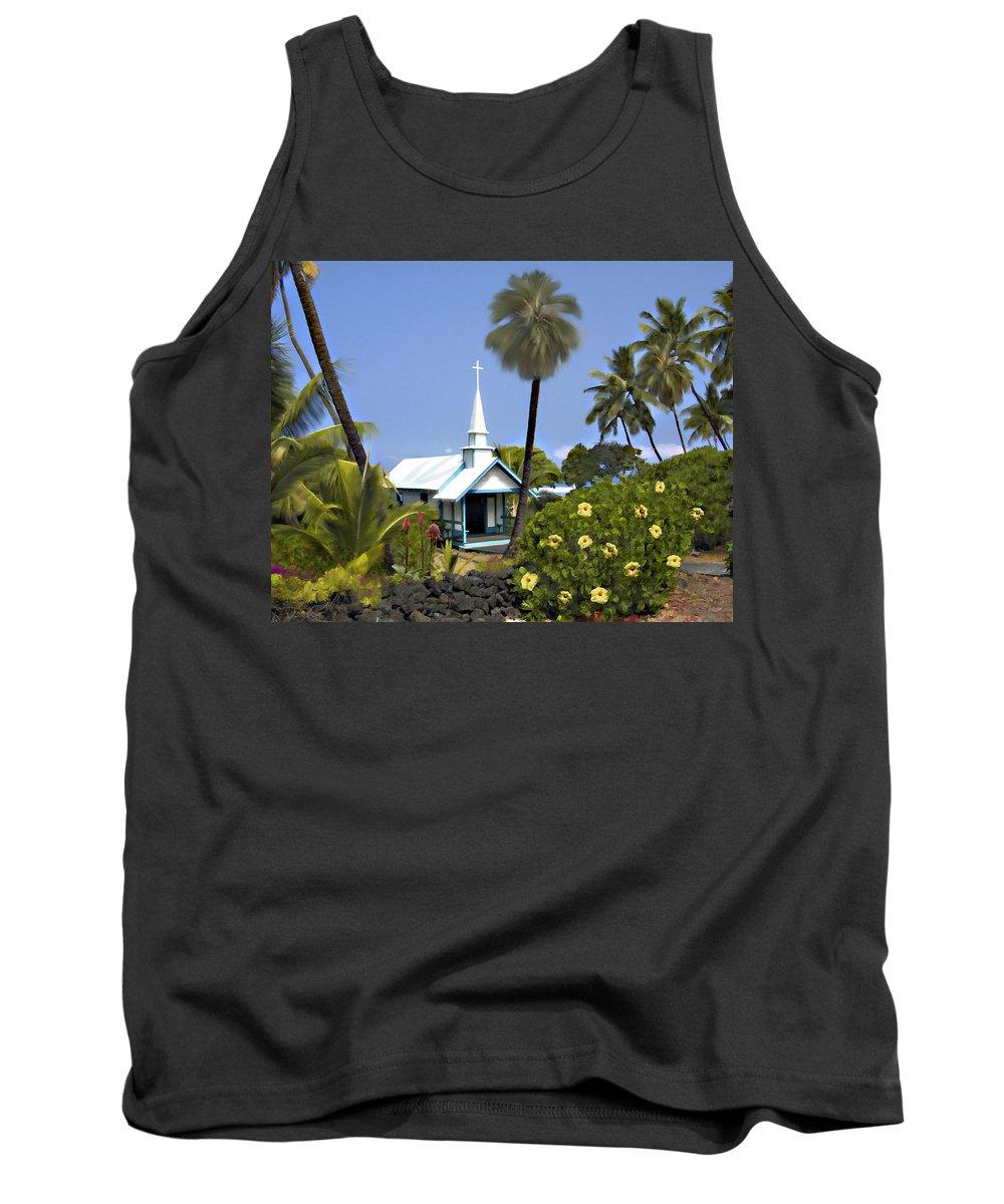 Hawaii Tank Top featuring the photograph Little Blue Church Kona by Kurt Van Wagner