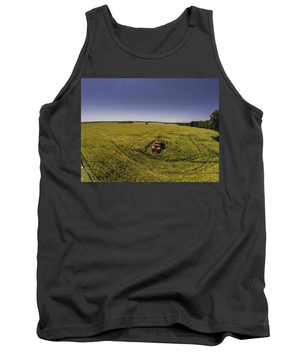Palm Tank Top featuring the digital art Little Firetruck In A Big Field by Michael Thomas
