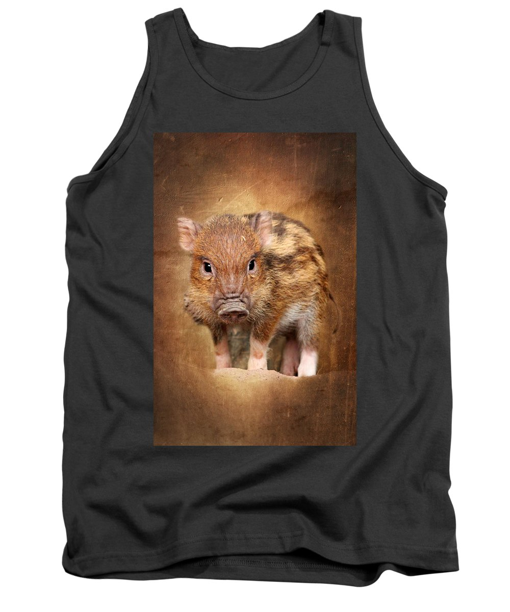 Pig Tank Top featuring the mixed media Little Pig by Heike Hultsch