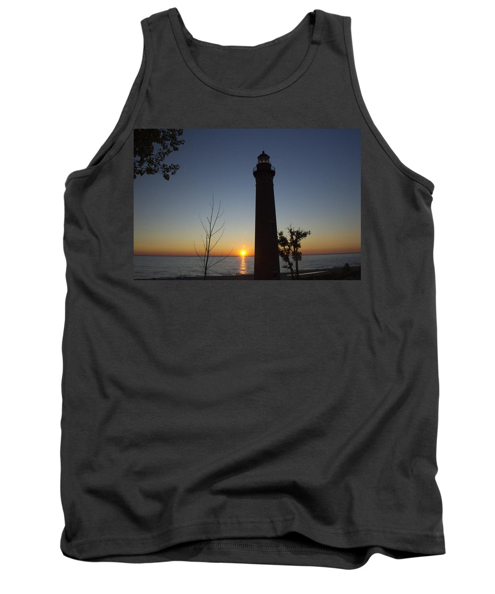 Art Tank Top featuring the photograph Little Sable Lighthouse At Sunset by Randall Nyhof