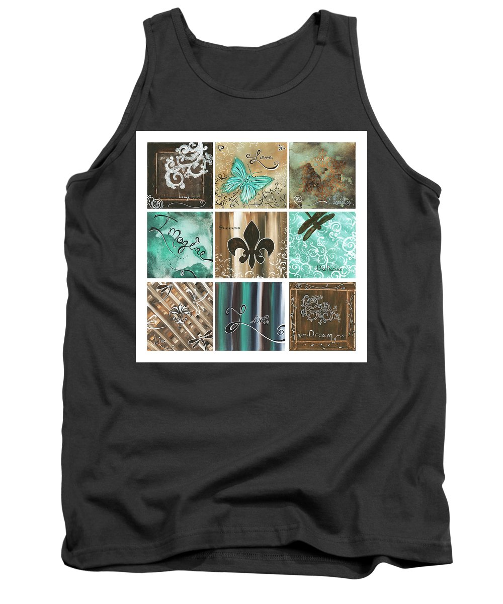 Abstract Tank Top featuring the painting Live And Love By Madart by Megan Duncanson