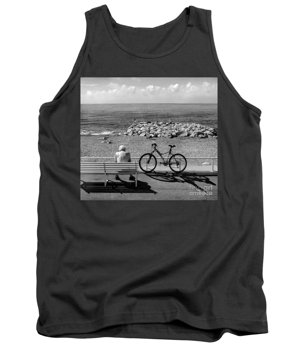 France Tank Top featuring the photograph Living The Dream.nice.france.bw by Jennie Breeze