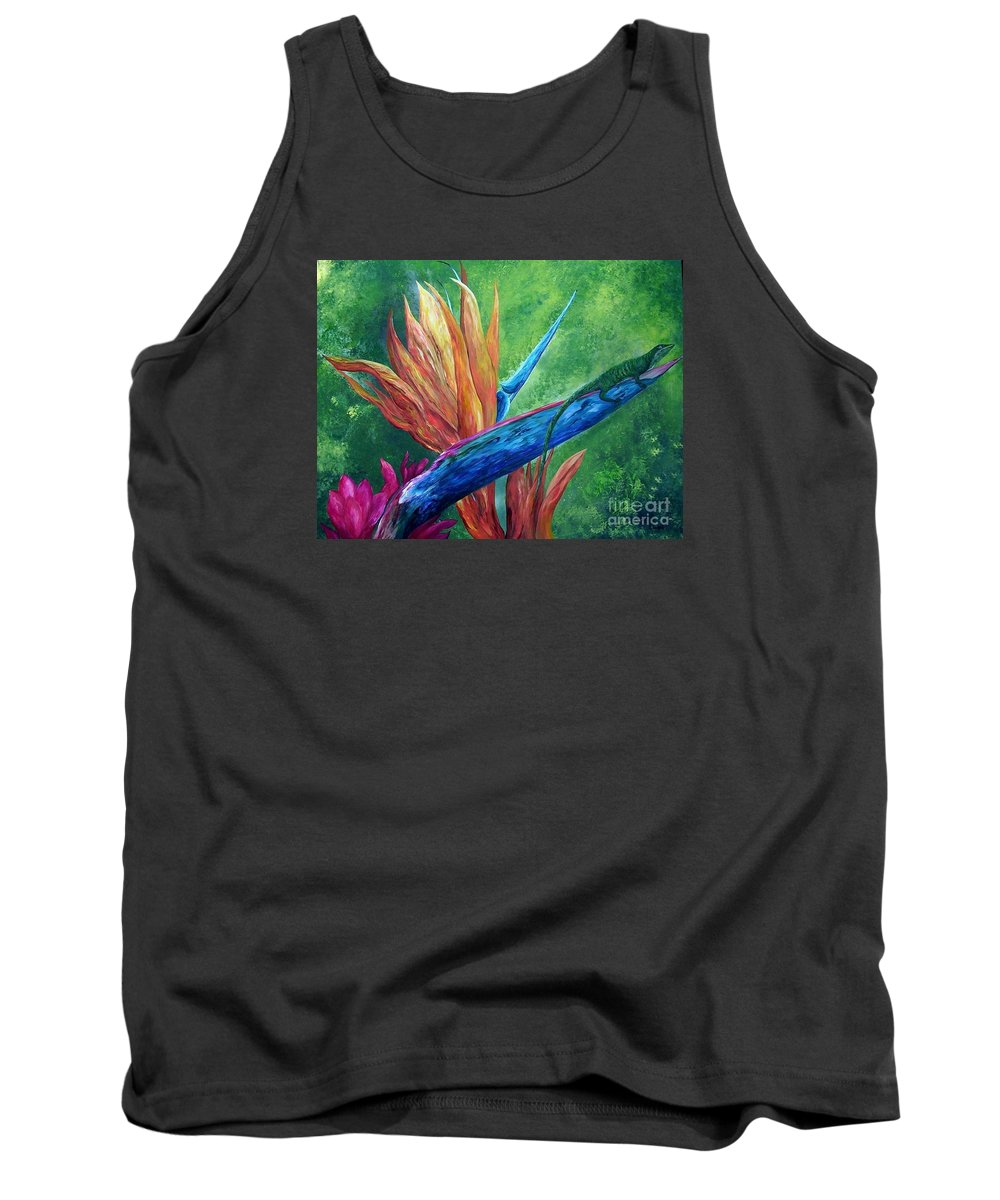 Lizard Tank Top featuring the painting Lizard On Bird Of Paradise by Eloise Schneider Mote
