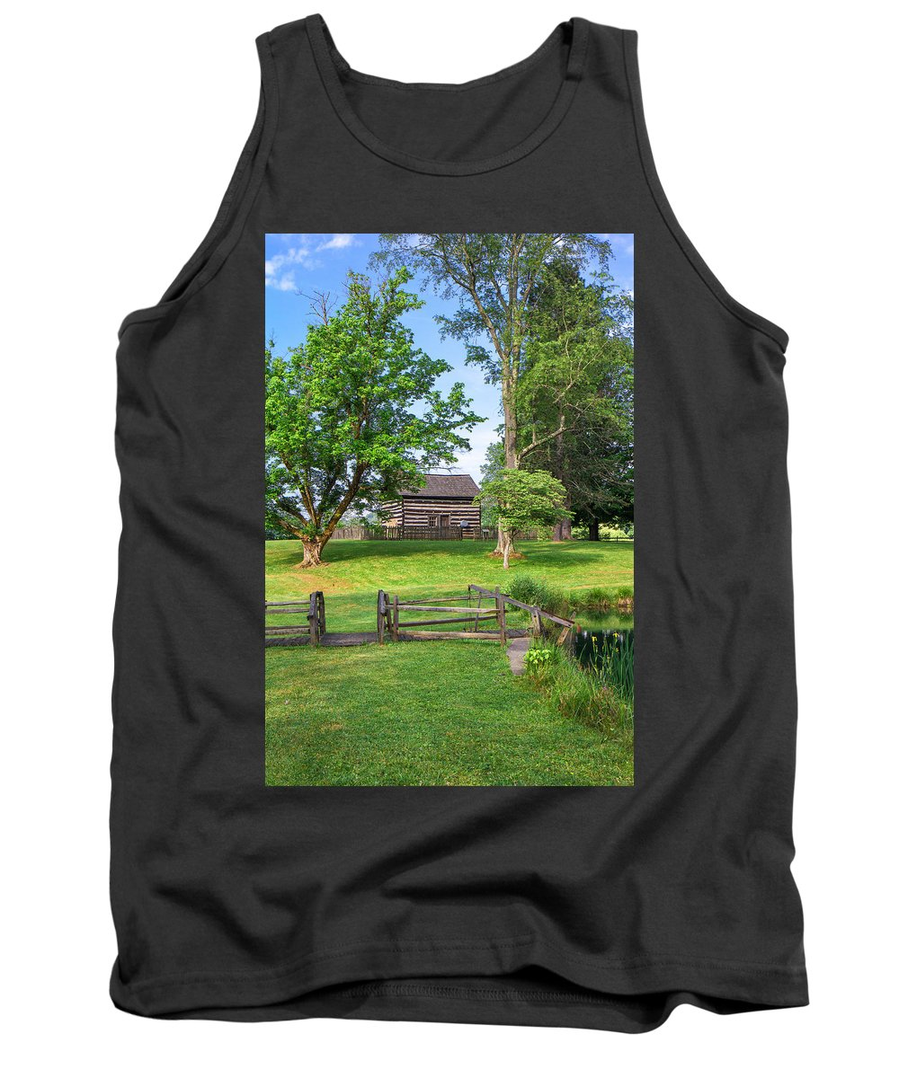 Jackson's Mill Tank Top featuring the photograph Log Cabin In The Trees by Mary Almond