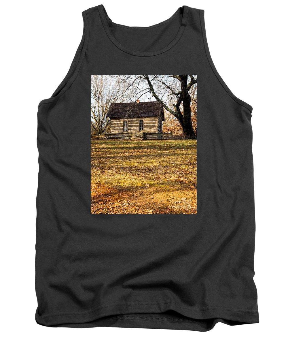 Log Tank Top featuring the photograph Log Cabin On A Hill by Imagery by Charly