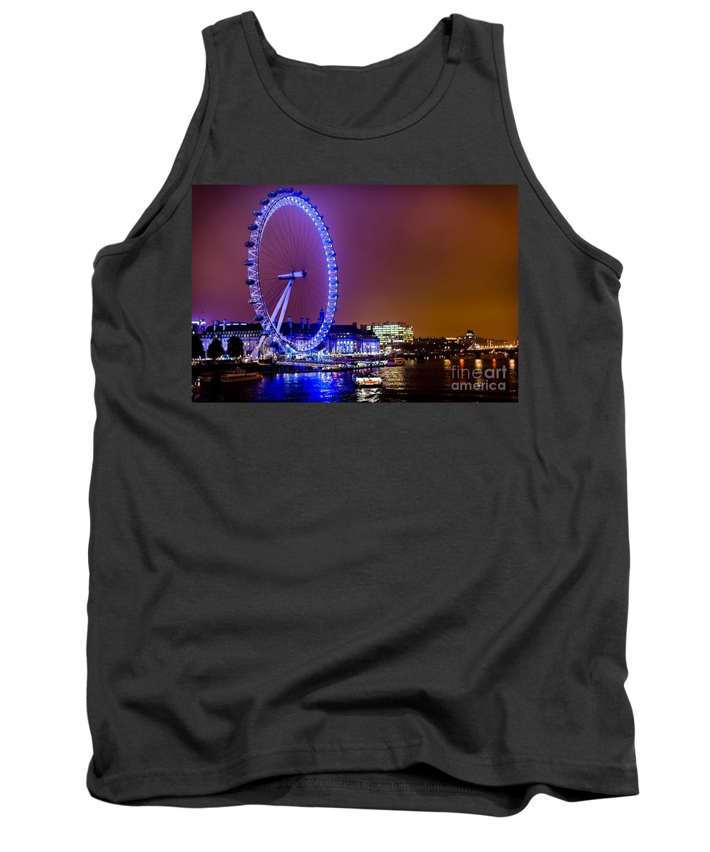 Blue Tank Top featuring the photograph London Eye Night Glow by Matt Malloy