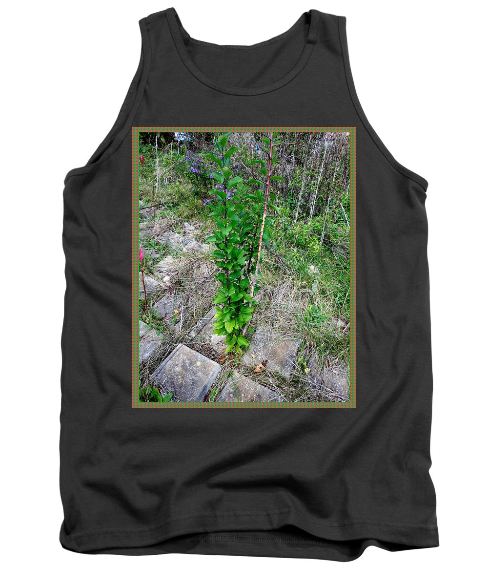 Nature Tank Top featuring the mixed media Lone Green Sapling Is The Cheer Leader Of The Flock Asking Humans To Leave Some Space For Them   by Navin Joshi