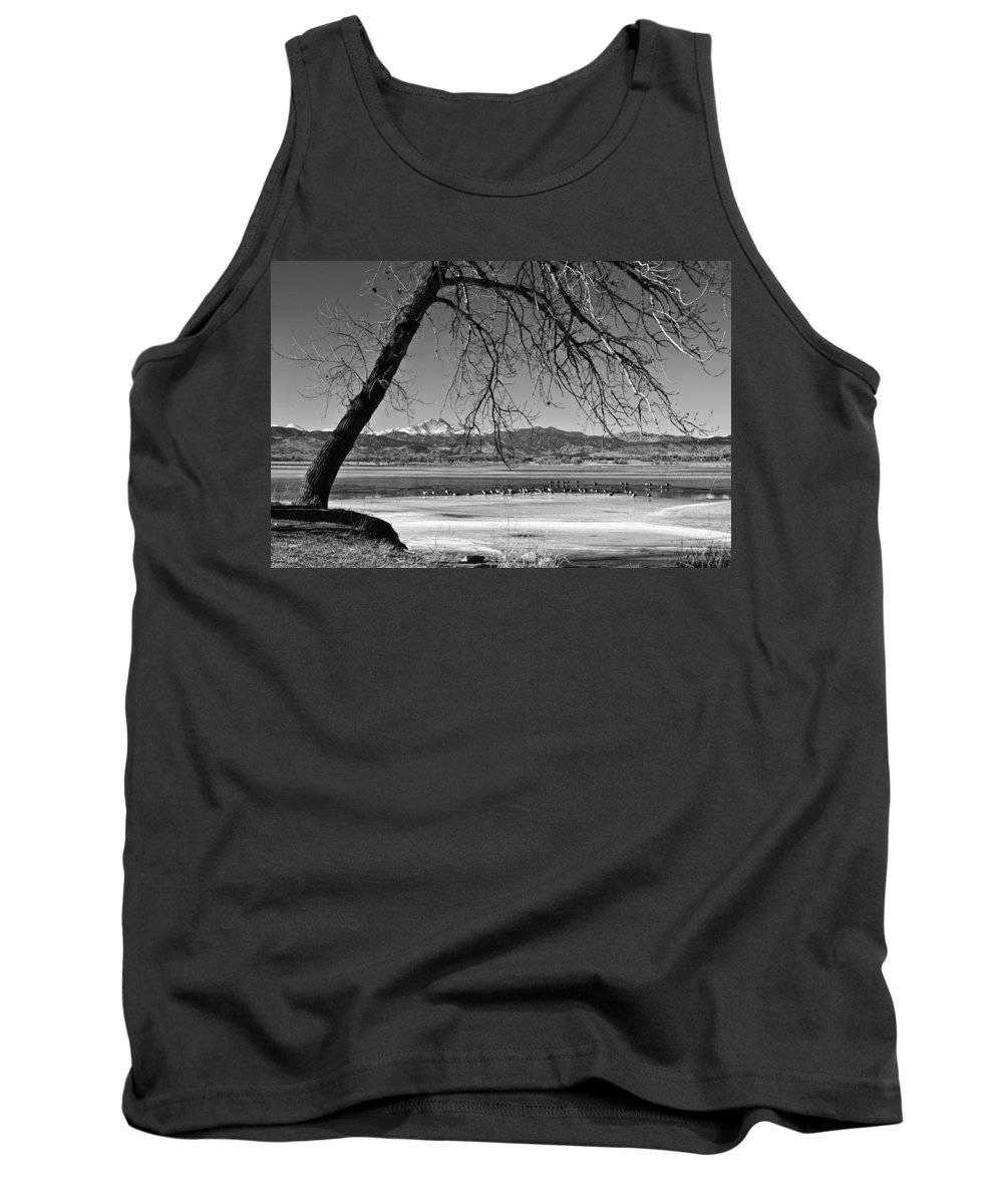 Longs Peak Tank Top featuring the photograph Longs Peak Geese Bw by James BO Insogna