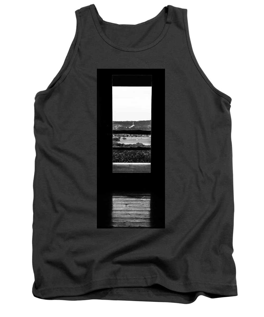 Wimberly Trip 2013 Tank Top featuring the photograph Looking Out A Country Door. by Darryl Dalton