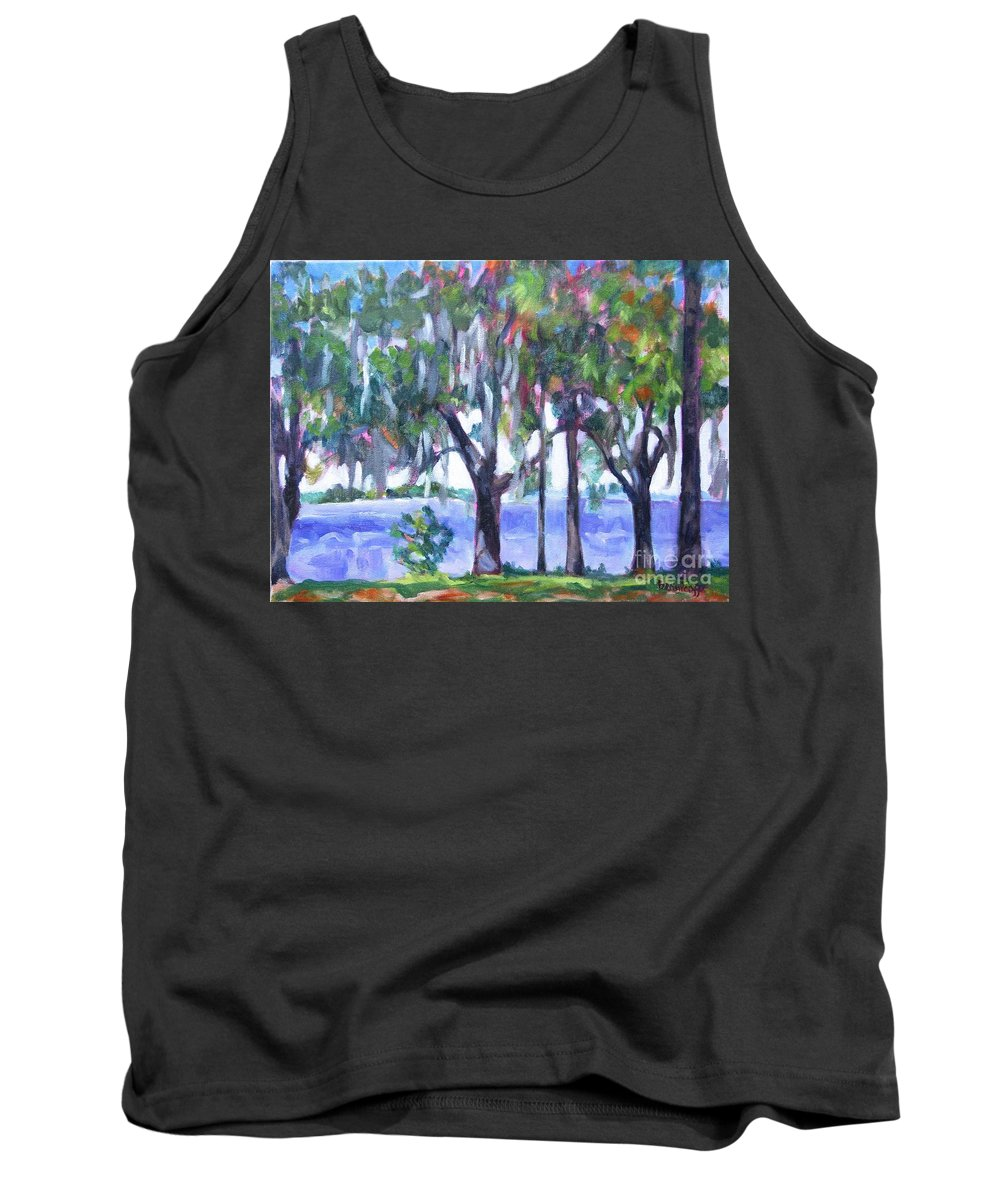 Ocean Bay Tank Top featuring the painting Looking Out On The Bay by Jan Bennicoff