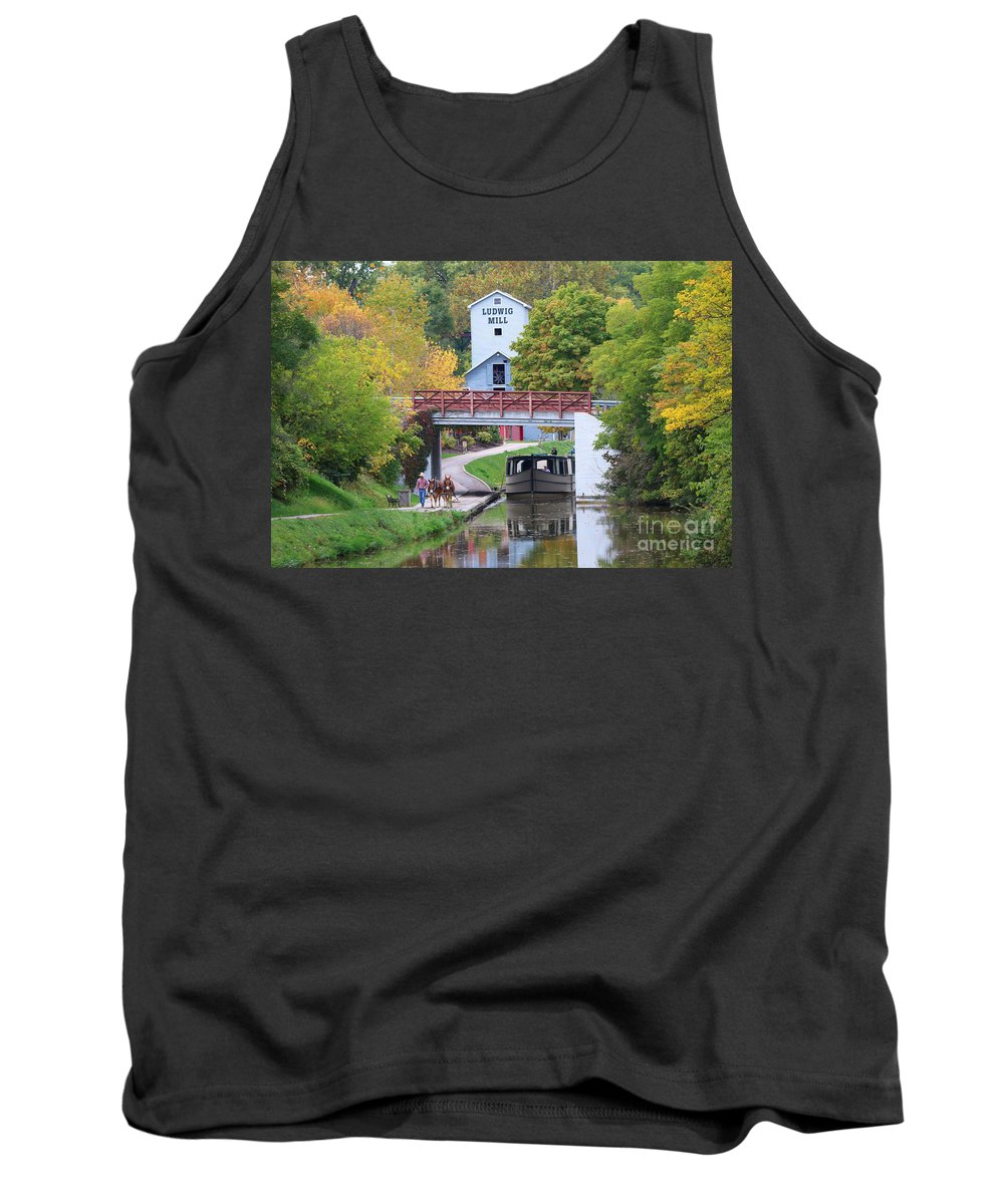 Ludwig Mill Tank Top featuring the photograph Ludwig Mill And Canal Boat 1480 by Jack Schultz