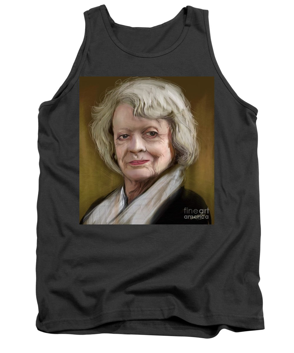 Maggie Smith Tank Top featuring the digital art Maggie Smith by Dori Hartley