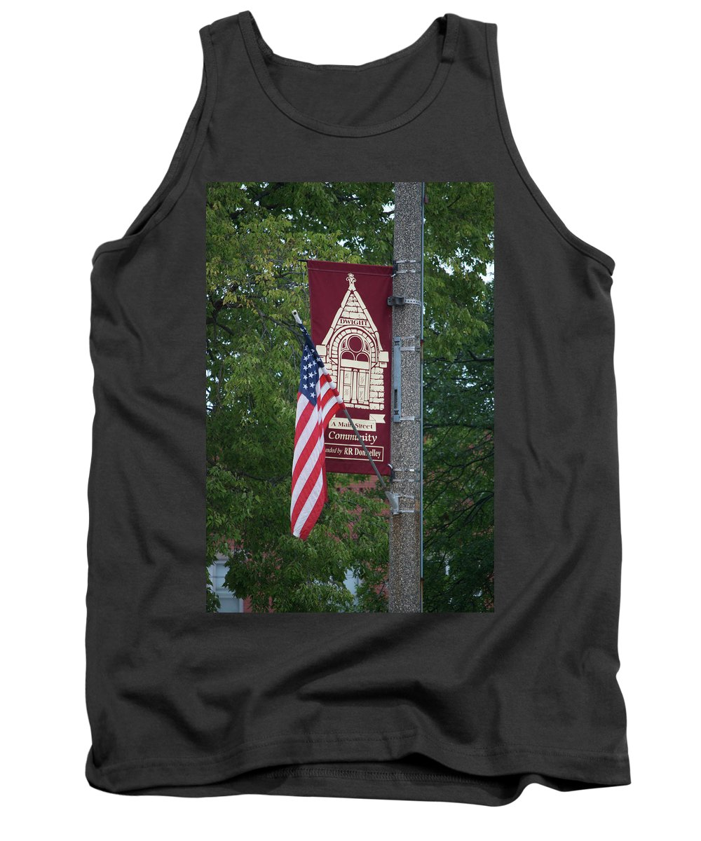 Central Il Tank Top featuring the photograph Main Street Flags Dwight Il by Thomas Woolworth