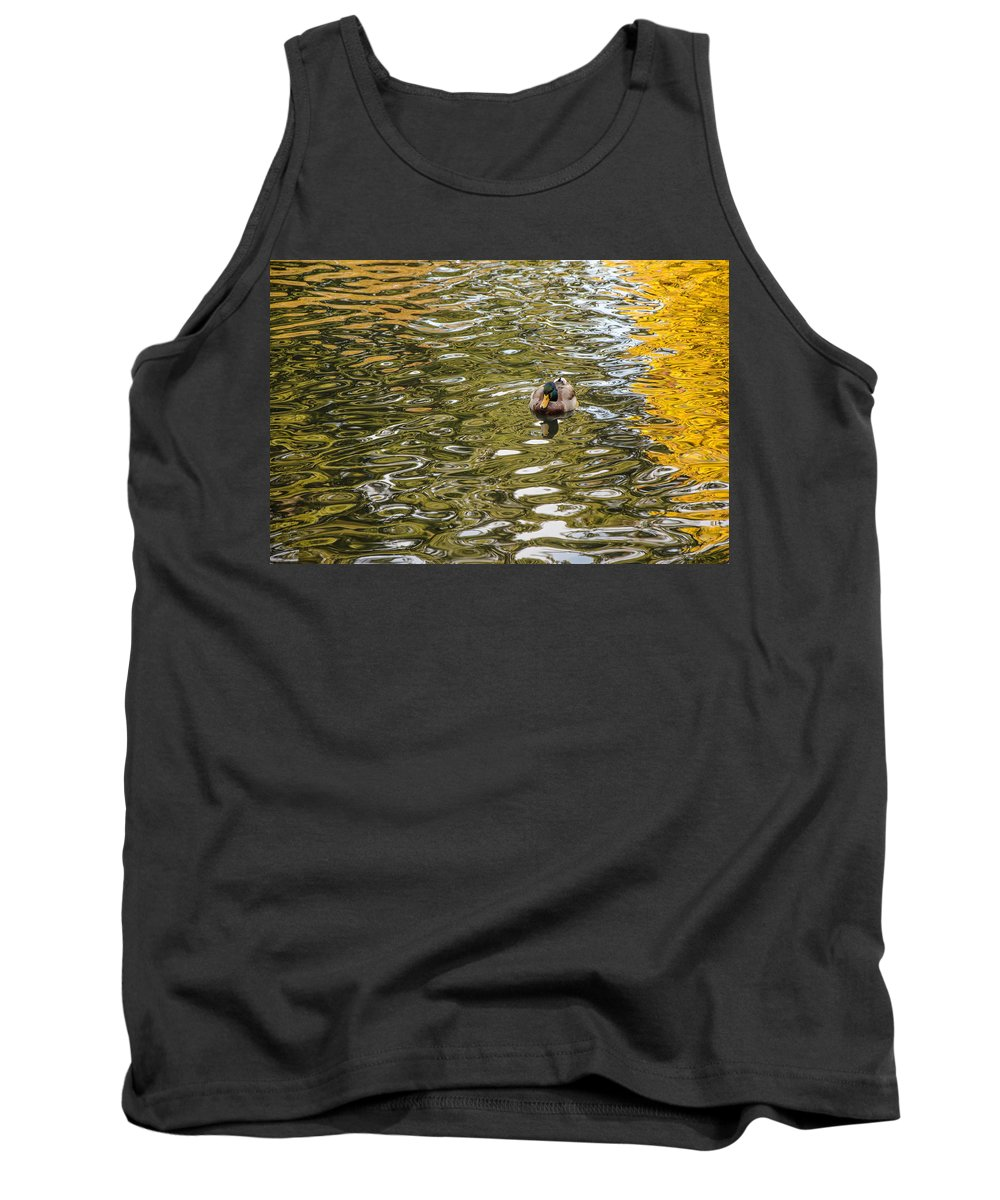 Drake Tank Top featuring the photograph Mallards On Golden Pond 1 by Roxy Hurtubise